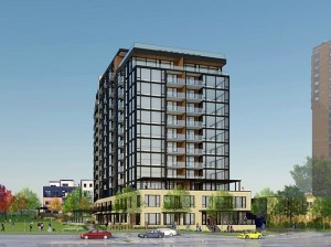 Denver-based Brickstone Partners has proposed a 200-unit apartment building at 3100 W. Lake St., a property just north of Lake Calhoun. Image courtesy Brickstone Partners
