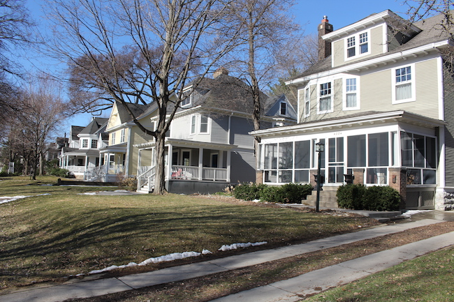 A row of houses on Linden Hills Boulevard